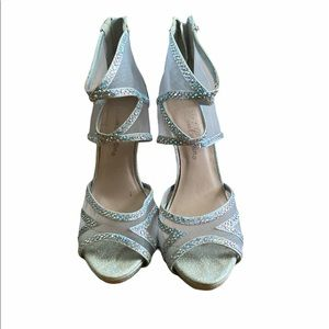 Blossom Collection Silver Sandal Heels Size 6
